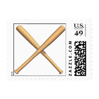 Crossed Baseball Bats Postage