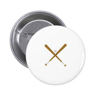 Crossed Bat & Ball 2 Inch Round Button