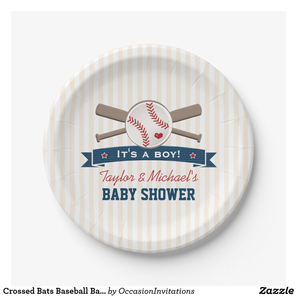 Crossed Bats Baseball Baby Shower