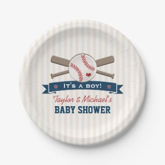 Crossed Bats Baseball Baby Shower