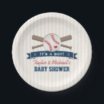 """Crossed Bats Baseball Baby Shower Paper Plate<br><div class=""""desc"""">A cute baseball themed baby shower paper plates that can be customized with the names of the parents. Crossed bats with a baseball with a red heart on it above a blue ribbon look banner with red stars that says &quot;It&#39;s a boy!&quot; Vintage cream and white striped background. Perfect for...</div>"""