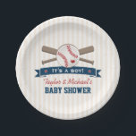"Crossed Bats Baseball Baby Shower Paper Plate<br><div class=""desc"">A cute baseball themed baby shower paper plates that can be customized with the names of the parents. Crossed bats with a baseball with a red heart on it above a blue ribbon look banner with red stars that says &quot;It&#39;s a boy!&quot; Vintage cream and white striped background. Perfect for...</div>"