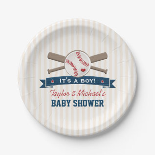 Crossed Bats Baseball Baby Shower Paper Plate at Zazzle