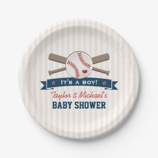 Crossed Bats Baseball Baby Shower Paper Plate