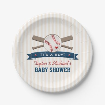 Toddler & Baby themed Crossed Bats Baseball Baby Shower Paper Plate