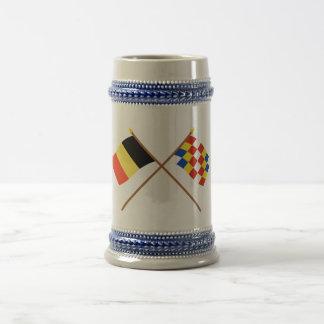 Crossed Belgium and Antwerp Flags Mugs