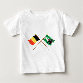 Crossed Belgium and East Flanders Flags Baby T-Shirt