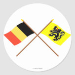 Crossed Belgium and Flanders Region Flags Round Sticker
