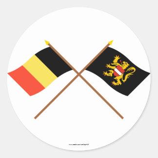 Crossed Belgium and Flemish Brabant Flags Round Sticker