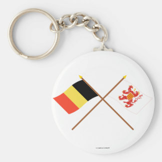 Crossed Belgium and Limbourg Flags Keychain