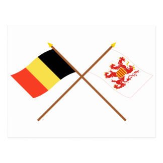 Crossed Belgium and Limbourg Flags Post Card