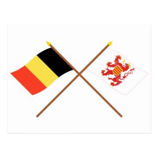 Crossed Belgium and Limbourg Flags Postcard