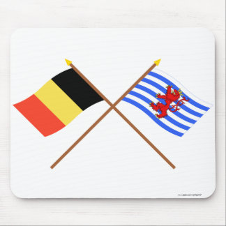 Crossed Belgium and Luxembourg Flags (de facto) Mousepad