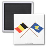 Crossed Belgium and Region of Brussels Flags Fridge Magnets