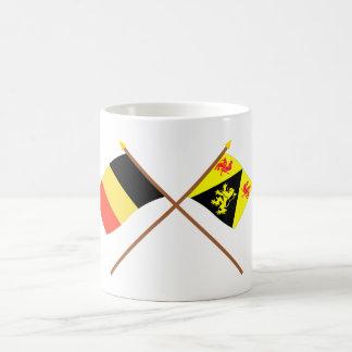 Crossed Belgium and Walloon Brabant Flags Coffee Mug