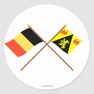 Crossed Belgium and Walloon Brabant Flags Round Stickers
