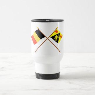 Crossed Belgium and Walloon Brabant Flags Travel Mug