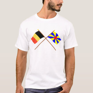 Crossed Belgium and West Flanders Flags T-Shirt