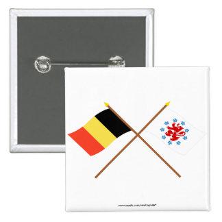 Crossed Belgium & German Speaking Community Flags Button