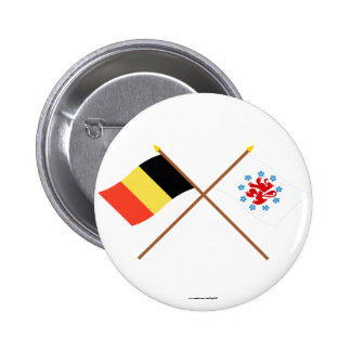Crossed Belgium & German Speaking Community Flags Buttons