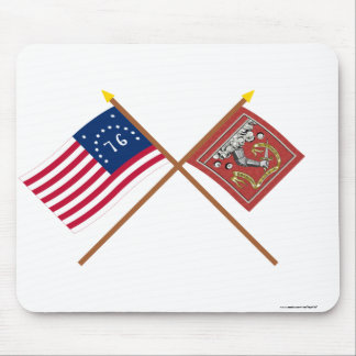 Crossed Bennington and Bedford Flags Mouse Pad