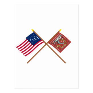 Crossed Bennington and Bedford Flags Postcard