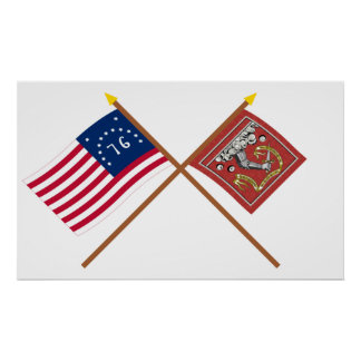 Crossed Bennington and Bedford Flags Poster