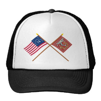 Crossed Bennington and Bedford Flags Trucker Hat