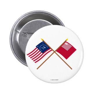 Crossed Bennington and Brandywine Flags Button