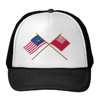 Crossed Bennington and Brandywine Flags Mesh Hat