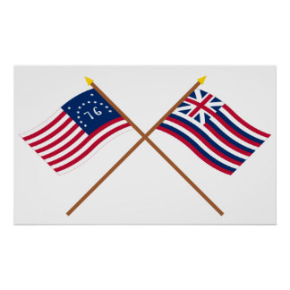Crossed Bennington and Brigantine Lexington Flags Poster