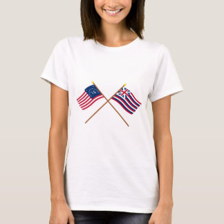 Crossed Bennington and Brigantine Lexington Flags T-Shirt