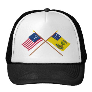Crossed Bennington and Bucks of America Flags Trucker Hat