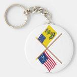Crossed Bennington and Bucks of America Flags Keychains