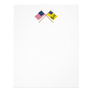 Crossed Bennington and Bucks of America Flags Letterhead
