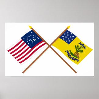 Crossed Bennington and Bucks of America Flags Print