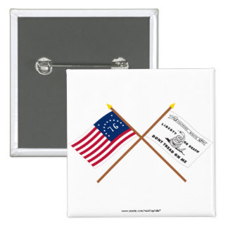 Crossed Bennington and Culpeper Flags Pinback Buttons