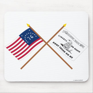 Crossed Bennington and Culpeper Flags Mouse Pad