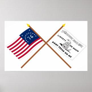 Crossed Bennington and Culpeper Flags Print