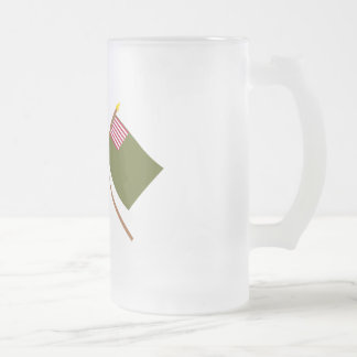 Crossed Bennington and Delaware Militia Flags Frosted Glass Beer Mug