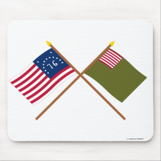 Crossed Bennington and Delaware Militia Flags Mouse Pad