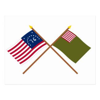 Crossed Bennington and Delaware Militia Flags Postcard