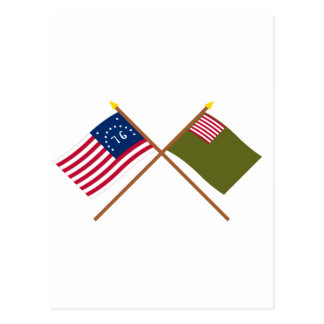 Crossed Bennington and Delaware Militia Flags Post Cards