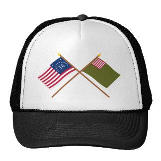 Crossed Bennington and Delaware Militia Flags Trucker Hat