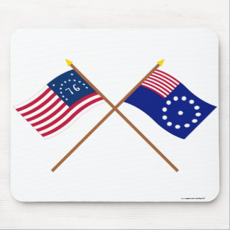 Crossed Bennington and Easton Flags Mouse Pad