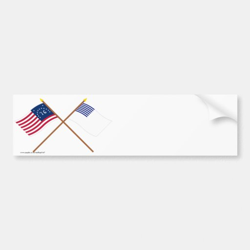 Crossed Bennington and Forster Flags Car Bumper Sticker