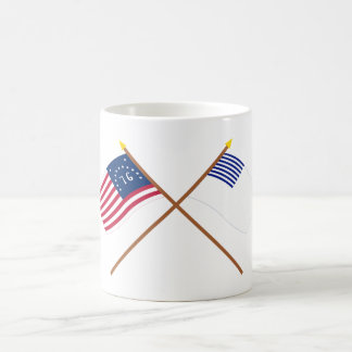 Crossed Bennington and Forster Flags Classic White Coffee Mug