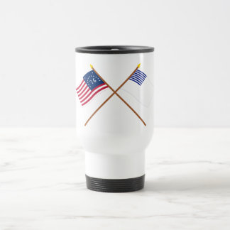 Crossed Bennington and Forster Flags 15 Oz Stainless Steel Travel Mug