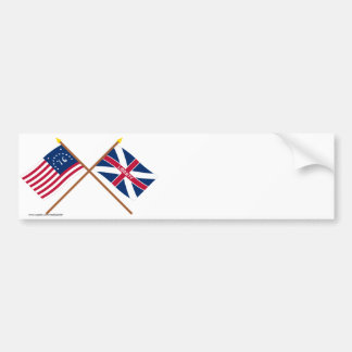 Crossed Bennington and Fort Johnson Flags Bumper Stickers