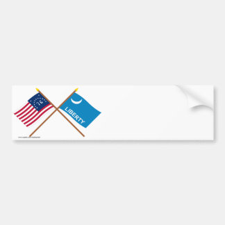 Crossed Bennington and Fort Moultrie Flags Bumper Stickers